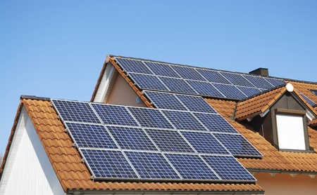 Solar panels on the hosue roof Stock Photo - 13141709