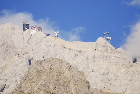 cabel: Cabel way on mount Zugspitze in Ehrwald (Austria) Stock Photo