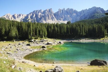 Lake Karersee (Lago di Carezza) in the Dolomites in Italy