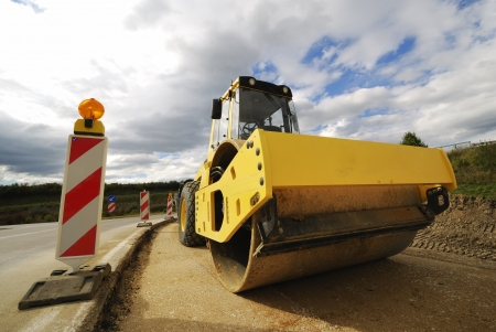 roadworks: Roadworks with a road roller