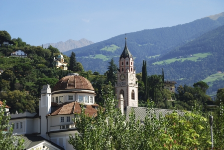 meran: Village of Meran in South Tyrol (Italy) Stock Photo