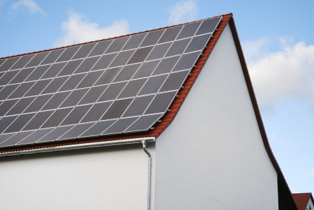 Photovoltaic - Electricity generation with solar panels on the roof photo