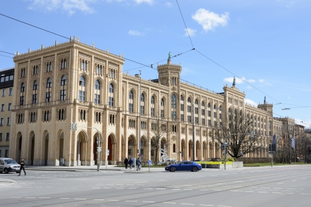 kink: MUNICH, GERMANY - APRIL 9: Government building of Upper Bavaria in Munich, Maximilian street on April 9, 2013. Famous historic building, built 1864 by Kink Max II. Foto taken from Maximilianstreet with view to the government. Editorial
