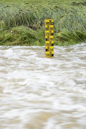 rain gauge: El nivel del agua en un río desbordado
