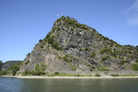 legendary: The legendary Loreley Rock at the river Rhine. Stock Photo