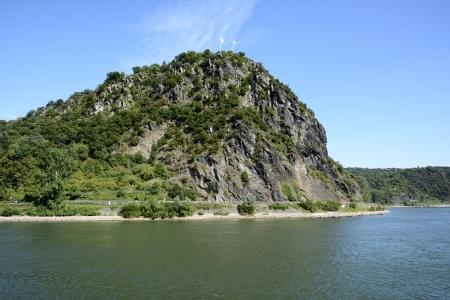 rhein: The legendary Loreley Rock at the river Rhine. Stock Photo