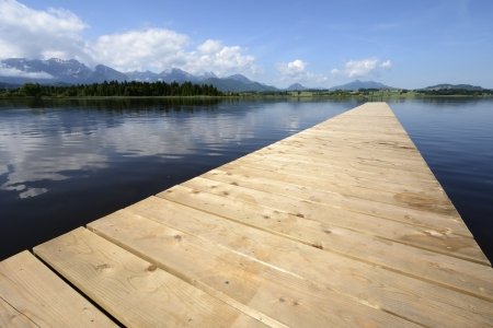 landing stage: Wooden landing stage at the Hopfensee (Germany, Bavaria)
