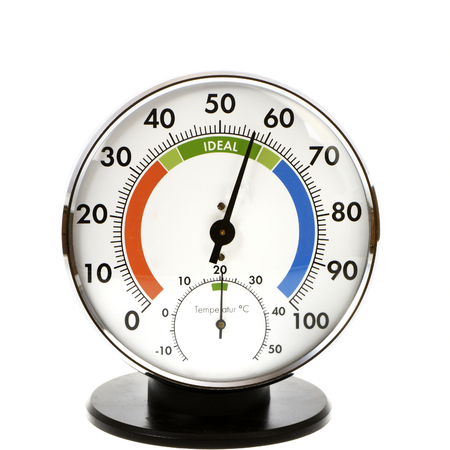 humidity gauge: Analog hygrometer and thermometer - everything is in the green Stock Photo
