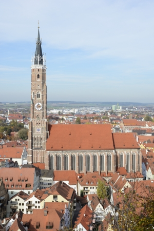 landshut: View over the city of Landshut with the basilica St. Martin, which has the highest clinker tower of the world.