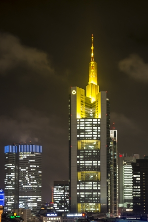 FRANKFURT, GERMANY - NOVEMBER 25: The Commerzbank tower in Frankfurt, Germany on November 25, 2013. The skyscarper is the tallest building in Germany. Foto taken from Zeilgallerie.