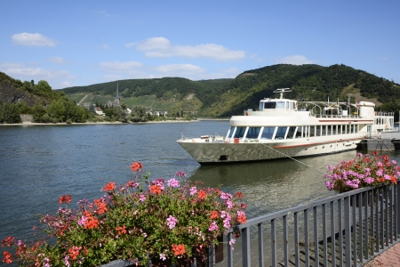 rhein: Round trip ship in the port at the river Rhine in Germany
