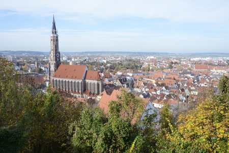 landshut: View over the city of Landshut with the basilica St Martin