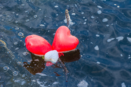Love is flowing away - two heart shaped balloons in the water photo