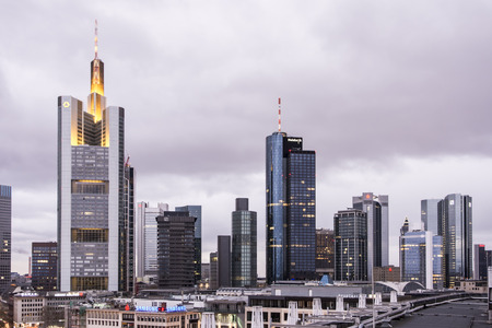 FRANKFURT, GERMANY - NOVEMBER 24: Skyline of Frankfurt, Germany on November 24, 2013. Frankfurt is the largest financial centre in continental Europe. Foto taken from Zeilgalerie.