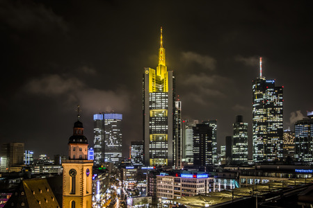 FRANKFURT, GERMANY - NOVEMBER 25: Skyline of Frankfurt, Germany on November 25, 2013. Frankfurt is the largest financial centre in continental Europe. Foto taken from Zeilgalerie.