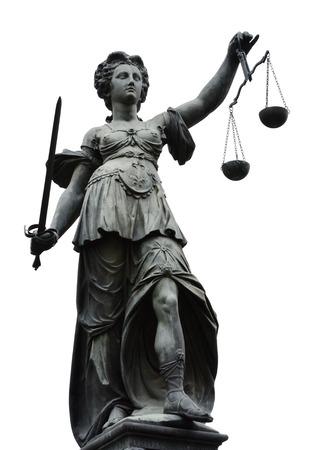 gerechtigkeit: Justitia (Lady Justice) Skulptur auf dem R�merberg in Frankfurt Platz, gebaut 1887.