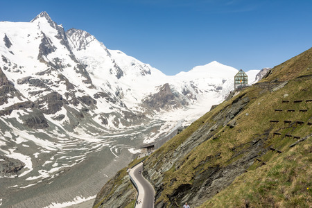 FRANZ-JOSEFS-HOEHE, AUSTRIA - JUNE 10: The Swarovski Observatory at the Franz-Josefs-Hoehe in Austria on June 10, 2014. From there you can view the Grossglockner, the highest mountain of Austria.