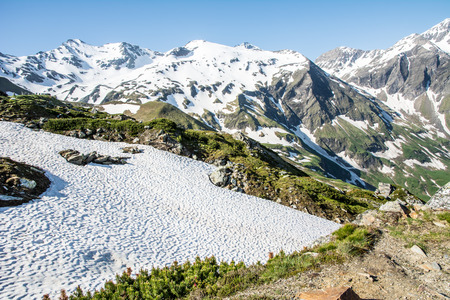 hohe tauern: Last snow at the Hohe Tauern Mountain Range in Austria