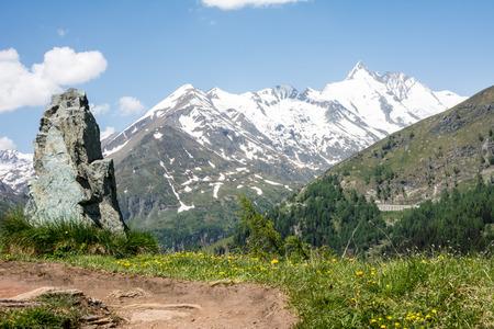 Alpine view at the Hohe Tauern mountain range in Austria photo