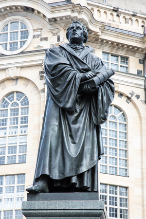Bronce Statue of Martin Luther in Dresden, built by Adolf von Donndorf in 1885. Stock Photo