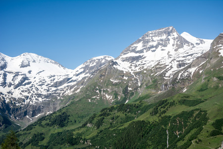 hochalpenstrasse: Mountain peaks in the national park Hohe Tauern in Austria. Stock Photo