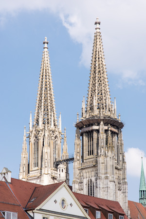 regensburg: Towers of the Regensburger Dom (Cathedral of Regensburg). Stock Photo