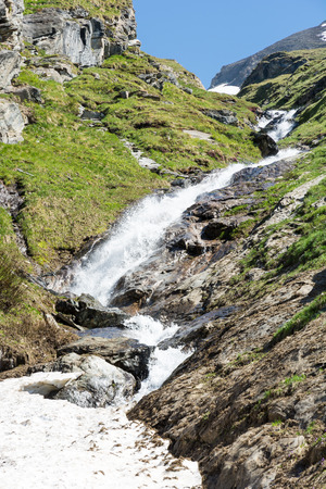 hohe tauern: Waterfall and Snowmelt in the Hohe Tauern national park in Austria Stock Photo