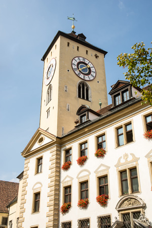 old town hall: Tower of the old town hall of Regensburg