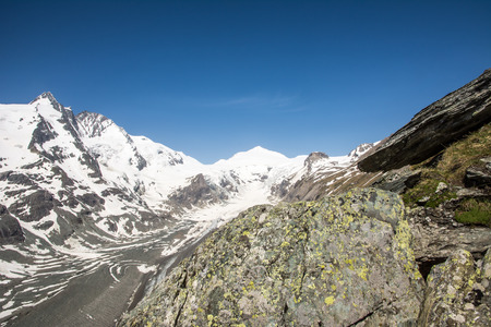 The Pasterze, the longest glacier of Austria at the Grossglockner group mountains photo