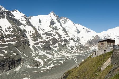 grossglockner: Alpine refuge house at the Grossglockner Group mountains