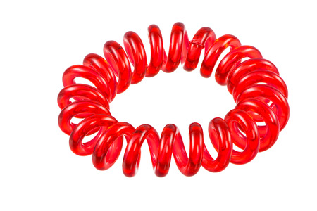 scrunchy: Eelastic red spiral hari tie isolated on white