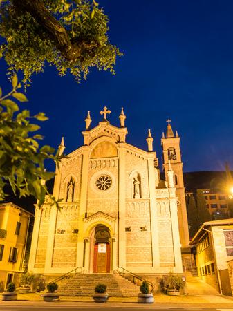 IGLESIA: Illuminated church of Castelletto di Brenzone at night