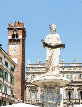 1st century: The Fontana di Madonna in Verona (from the 1st century) on the Piazze delle Erbe in Verona, Italy Editorial