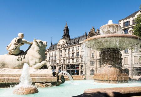 adolf: The Wittelsbacher Brunnen at the Lenbachplatz in Munich. The fountain was built 1895 by Adolf von Hildebrand. Editorial