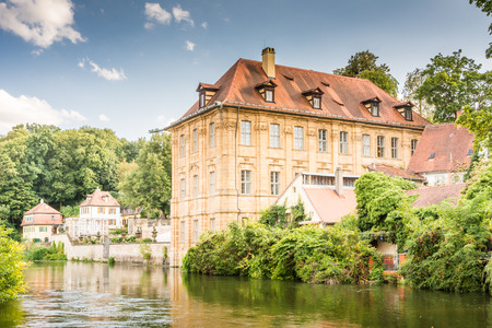 concordia: BAMBERG, GERMANY - SEPTEMBER 4: Villa Concordia in Bamberg, Germany on September 4, 2015.  The historic city center of Bamberg is a listed UNESCO world heritage site. Foto taken from Muelwoerth with view to the villa. Editorial