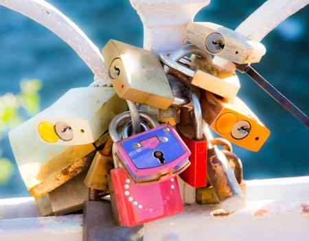 rustiness: Locks of love - symbol for everlasting friendship Stock Photo