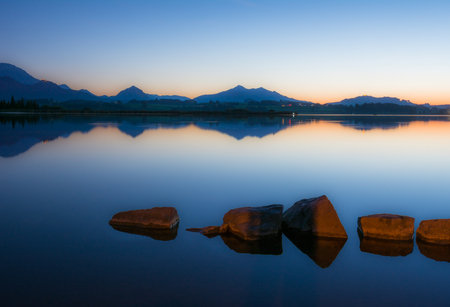 morning blue hour: Blue Hour at Lake Hopfen (Bavaria, Germany)