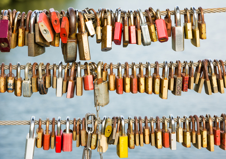 safety lock: Love locks as symbol for everlasting love
