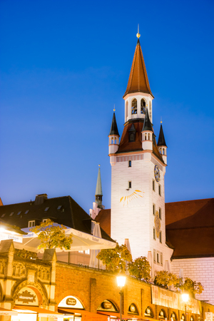 old town hall: MUNICH, GERMANY - OKTOBER 26: Illuminated old town hall of Munich, Germany on Oktober 26, 2015. Munich is the capital of Bavaria. Foto taken from Marienplatz with view to the old town hall.