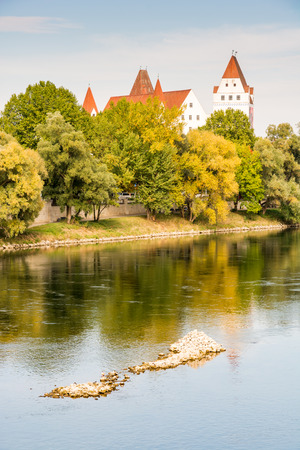 secular: INGOLSTADT, GERMANY - OKTOBER 3: Neues Schloss  in Ingolstadt, Germany on Oktober 3, 2015. The New Castle in Ingolstadt is one of the most important Gothic secular buildings of the 15th Century in Bavaria. Foto taken from Brueckenkopf with view to the cas