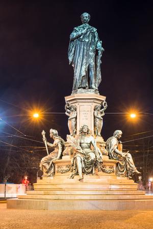 ferdinand: Monument of King Max II in Munich, Maximilian street. The statue was built 1875 by Ferdinand von Miller. Stock Photo