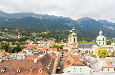 innsbruck: View over Innsbruck (Tyrol, Austria) and the cathedral.