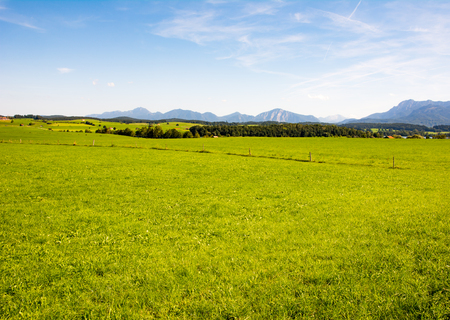 pastures: Rural landscape at lake Riegsee in Bavaria Stock Photo