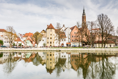 landshut: LANDSHUT, GERMANY - MARCH 31. Picturesque old town of Landshut, Germany on March 31, 2016. Landshut is the largest city of lower Bavaria. Foto taken from Hammerinsel with view to the basilica.