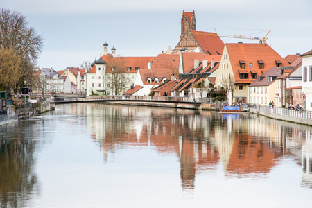 landshut: LANDSHUT, GERMANY - MARCH 31. Picturesque old town of Landshut, Germany on March 31, 2016. Landshut is the largest city of lower Bavaria. Foto taken from Hammerinsel with view to the north along the river Isar. Editorial