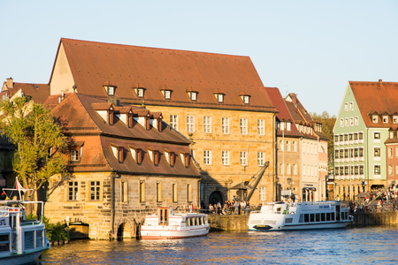 passenger ship: BAMBERG, GERMANY - MAY 7: passenger ship at river Regnitz in Bamberg, Germany on May 7, 2016.  Foto taken from Am Leinritt with view to Am Kranen. Editorial