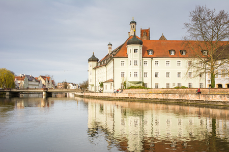 landshut: LANDSHUT, GERMANY - MARCH 31. Spital Heilig Geist in Landshut, Germany on March 31, 2016. The historic building was built in the 18th century. Foto taken from Hammerinsel with view to the Spital Heilig Geist. Editorial