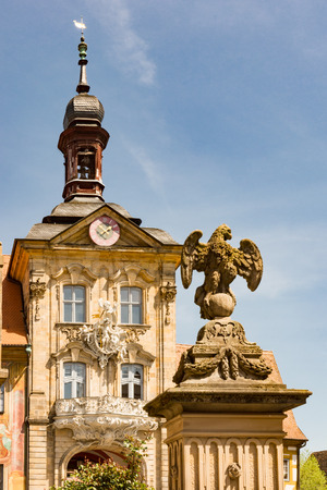 Tower of the historic town hall of Bamberg (Germany), built in the 14th century.