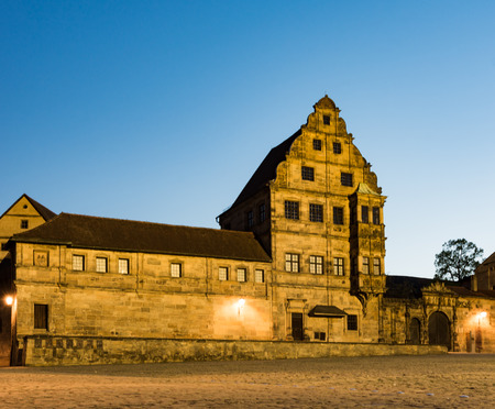 alte: Illumiated historic building at night: Alte Hofhaltung in Bamberg Stock Photo