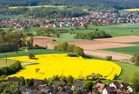 Rural landscape with a village in Franconia (Germany)